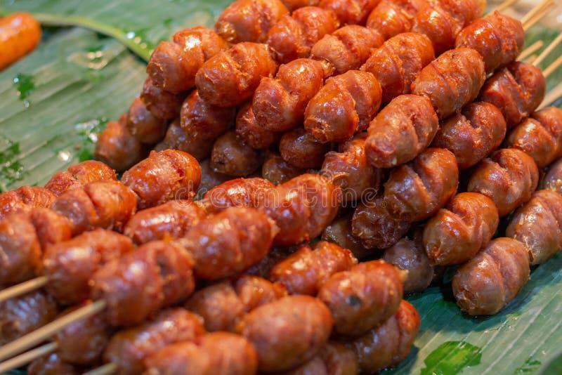 Thai food pork sausage  , Thai hotdog royalty free stock image