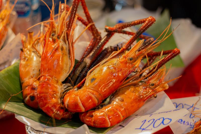 Delicidous Grilled Shrimps. In the market, asia, beef, butcher, cuisine, grill, meal, meat, thailand stock photos