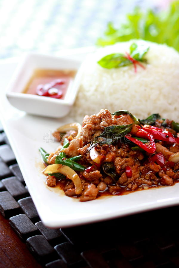 Thai food Rice and basil stock photos