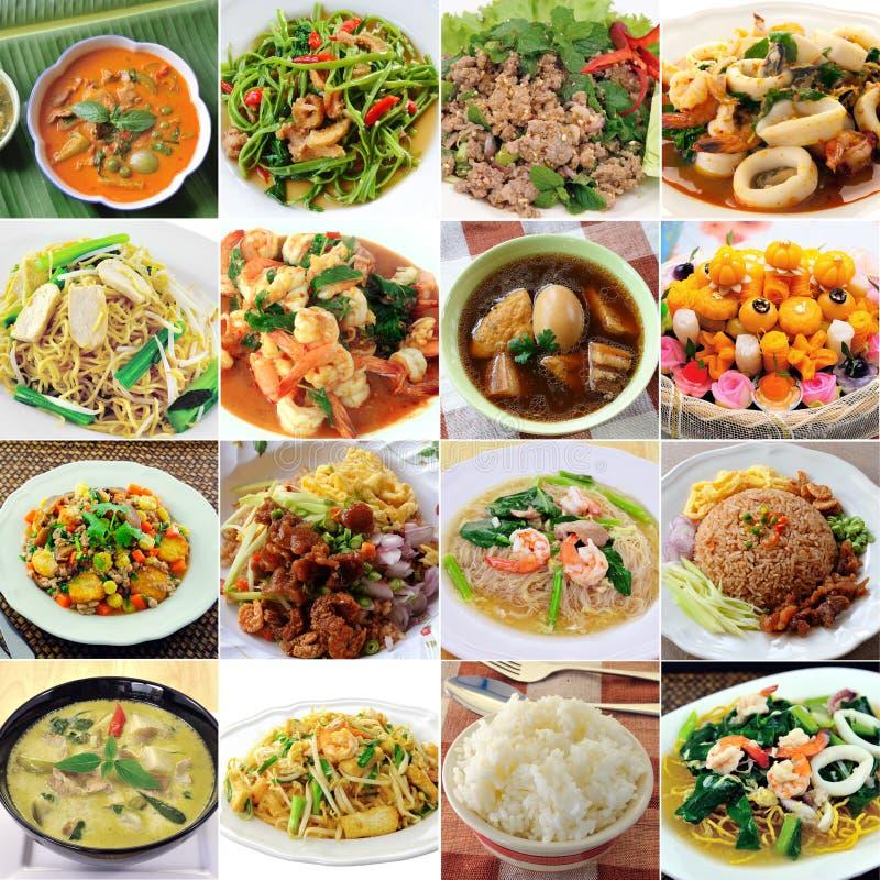 Thai food. Set of thai food on white stock photos