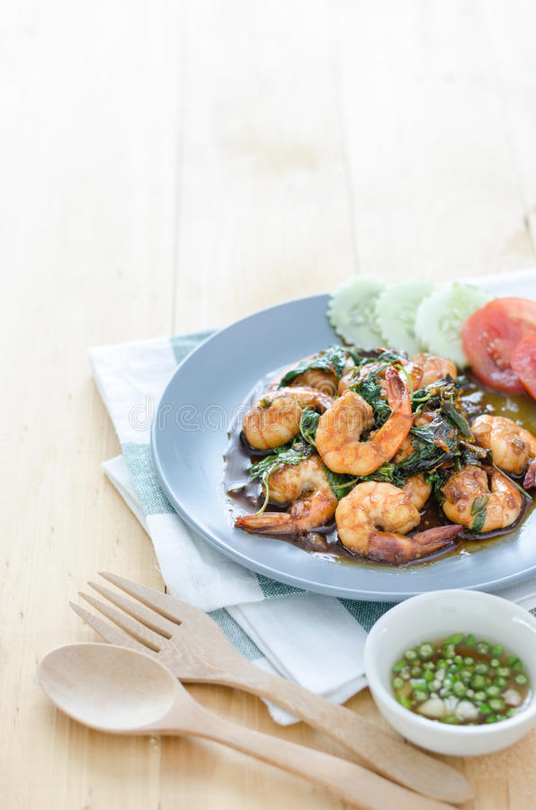 Thai food, shrimp with hot basil. royalty free stock image
