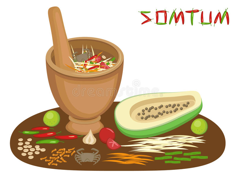 Thai food Somtum Papaya Salad stock illustration