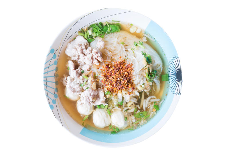 Thai food,Spicy noodle soup in a bowl stock images