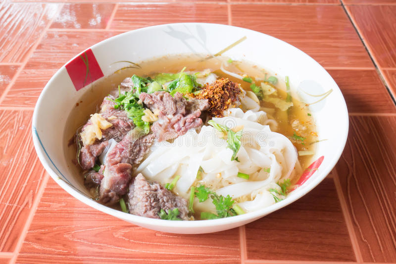 Thai food,Spicy noodle soup in a bowl ready to eating stock photo
