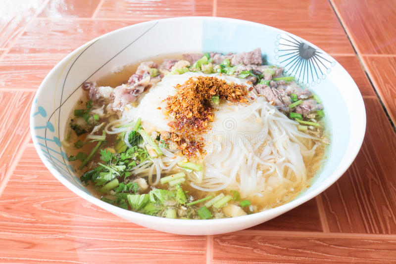 Thai food,Spicy noodle soup stock photography