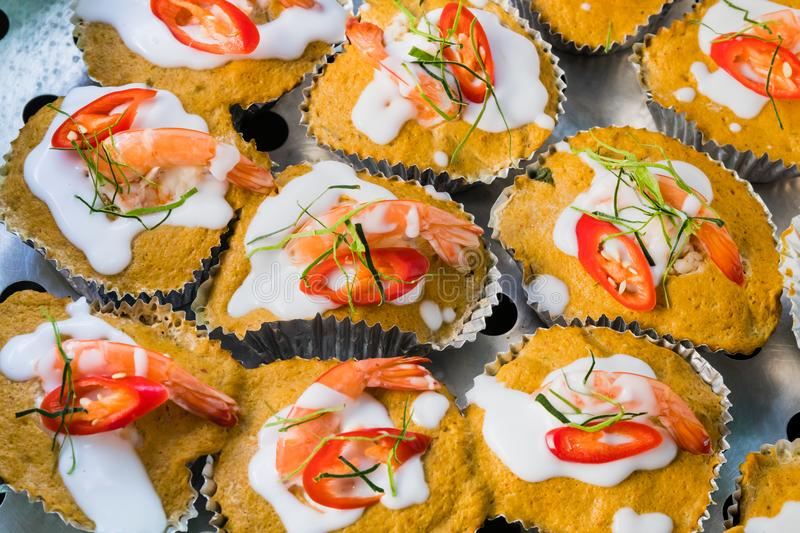 Thai steamed red curry cake with seafood. royalty free stock photography