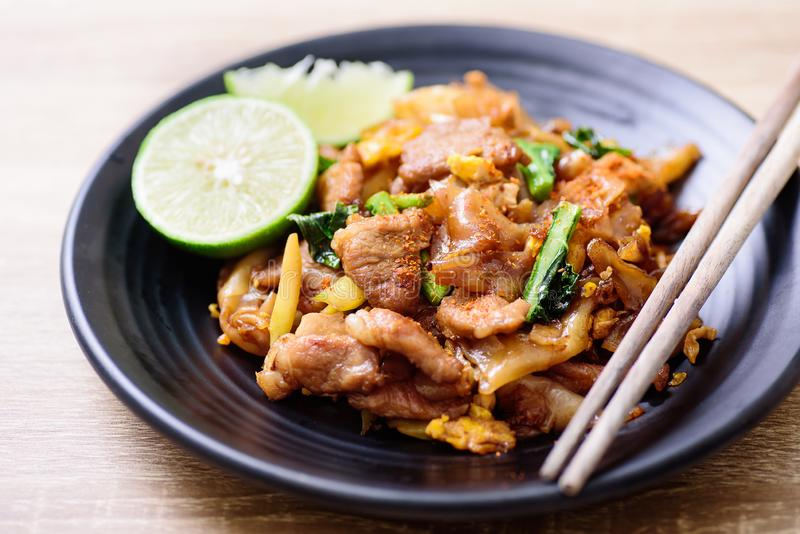 Thai food, stir fried rice noodle in soy sauce. Pad See Ew royalty free stock photos
