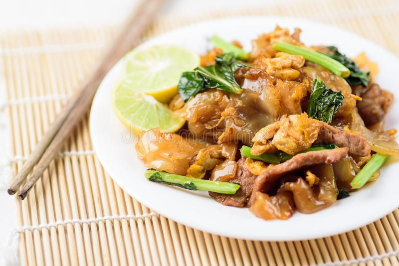 Thai food, stir fried rice noodles in soy sauce. Pad See Ew stock photo