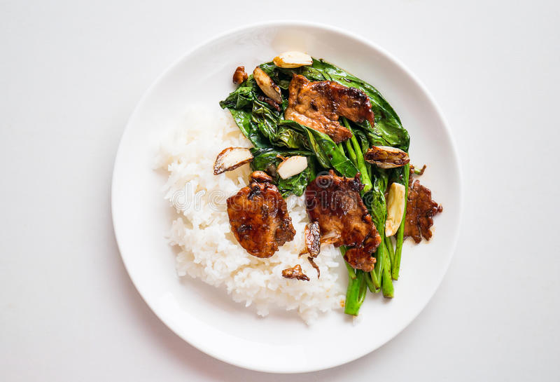 Thai food. Stir fry Chinese kale with pork and cooked rice on dish ready to eating royalty free stock image