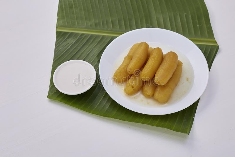 Thai food sweet banana stock image