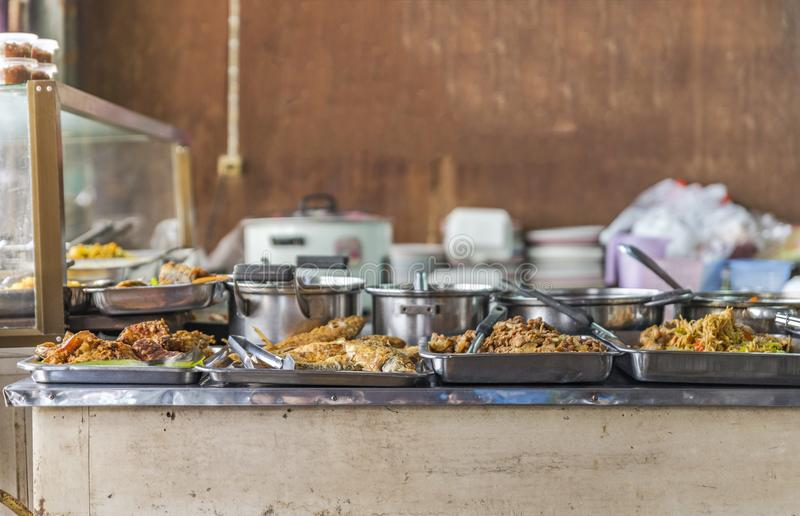 Thai food or Thai food on display in local restaurant.  stock images
