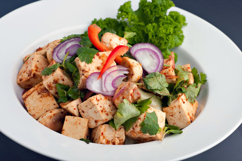 Thai Food Tofu Stir Fry. Fresh Thai food stir fry with tofu presented on a round white dish stock photos