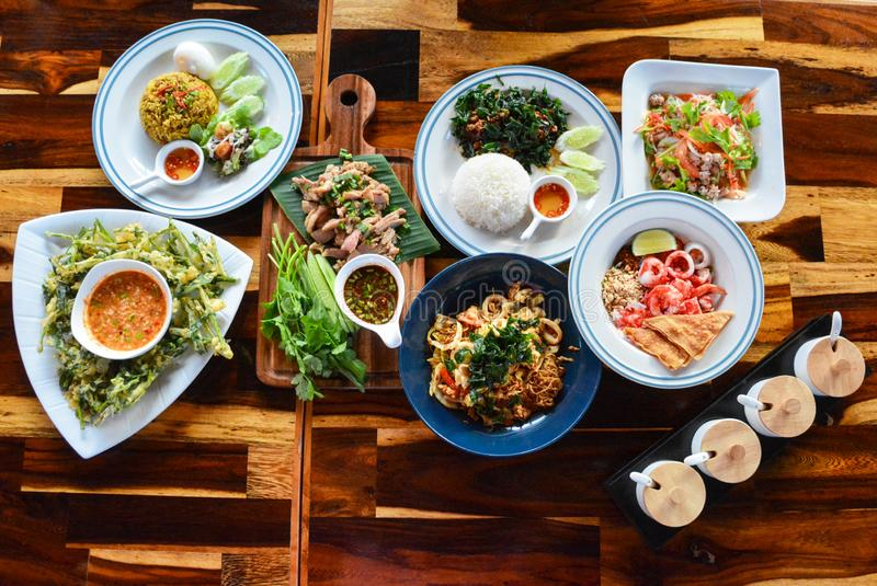 Thai food top table view stock images