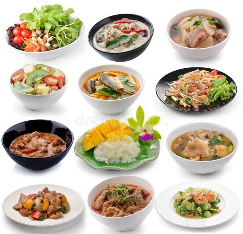 thai food on white background stock photos