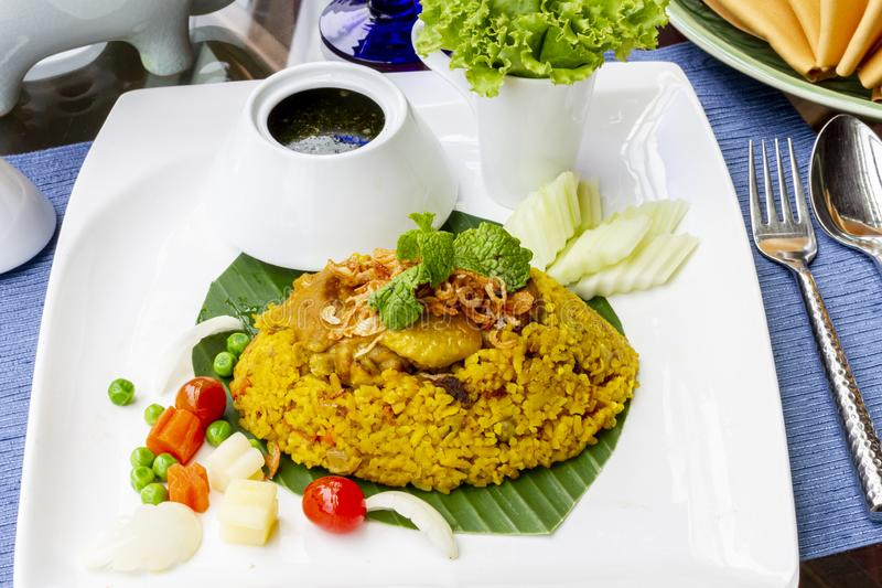 Yellow Rice with Chicken - Thai halal food royalty free stock photo