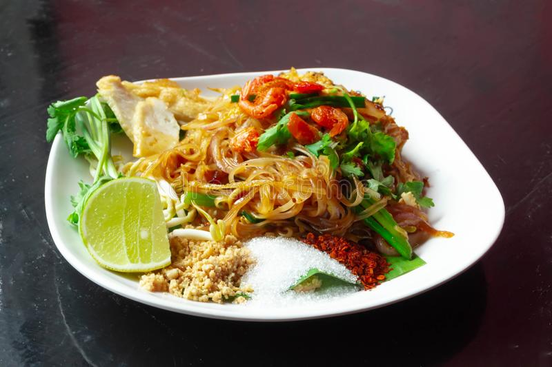 Thai Fried Noodles ,Pad Thai,with shrimps or prawns.  stock photography