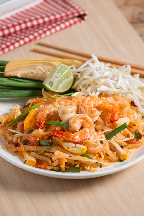 Thai Fried Noodles `Pad Thai` with shrimp and vegetables. royalty free stock photos
