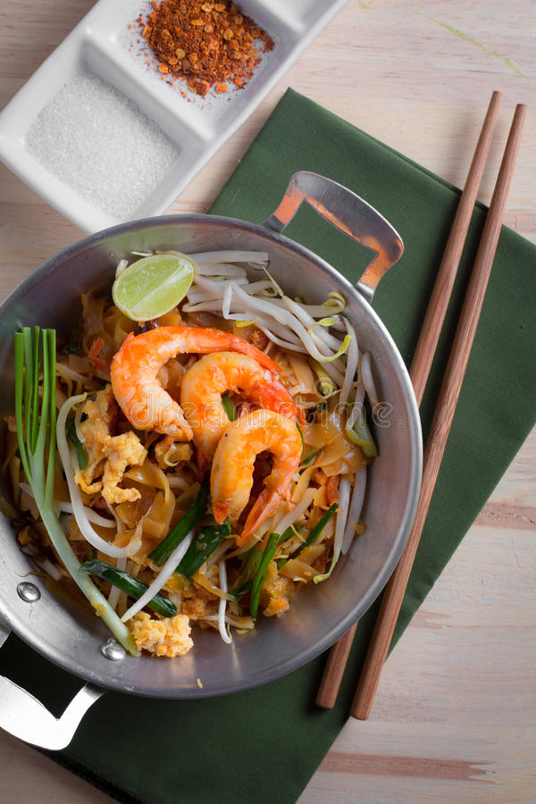 Thai fried noodles with prawn (Pad Thai), Thailand popuplar cuisine royalty free stock images