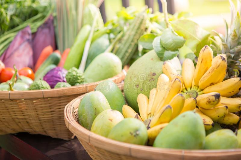 Thai fruits and vegetables in the basket stock photo