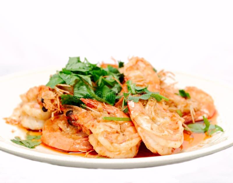 Thai Garlic Prawns stock image
