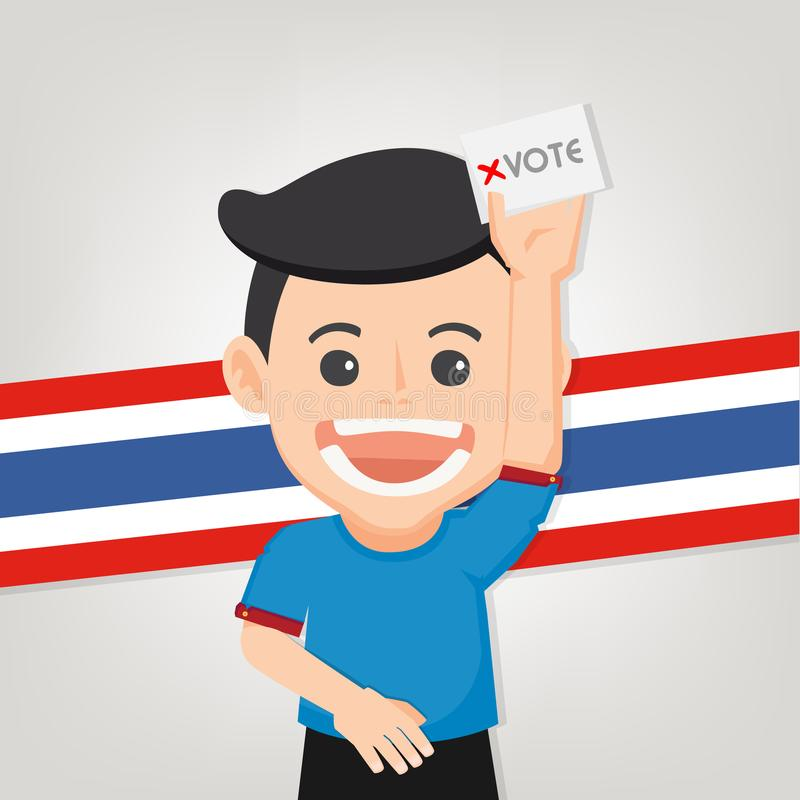 Thai General Election 2019, Human voting with ballot box.Vector illustration. Thai General Election 2019, Human voting with ballot box.Thai Flag background stock illustration