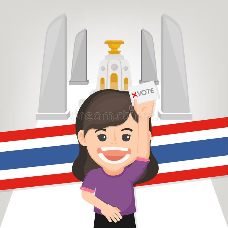 Thai General Election 2019, Human voting with ballot box.Vector illustration. Thai General Election 2019, Human voting with ballot box.Thai Flag background royalty free illustration