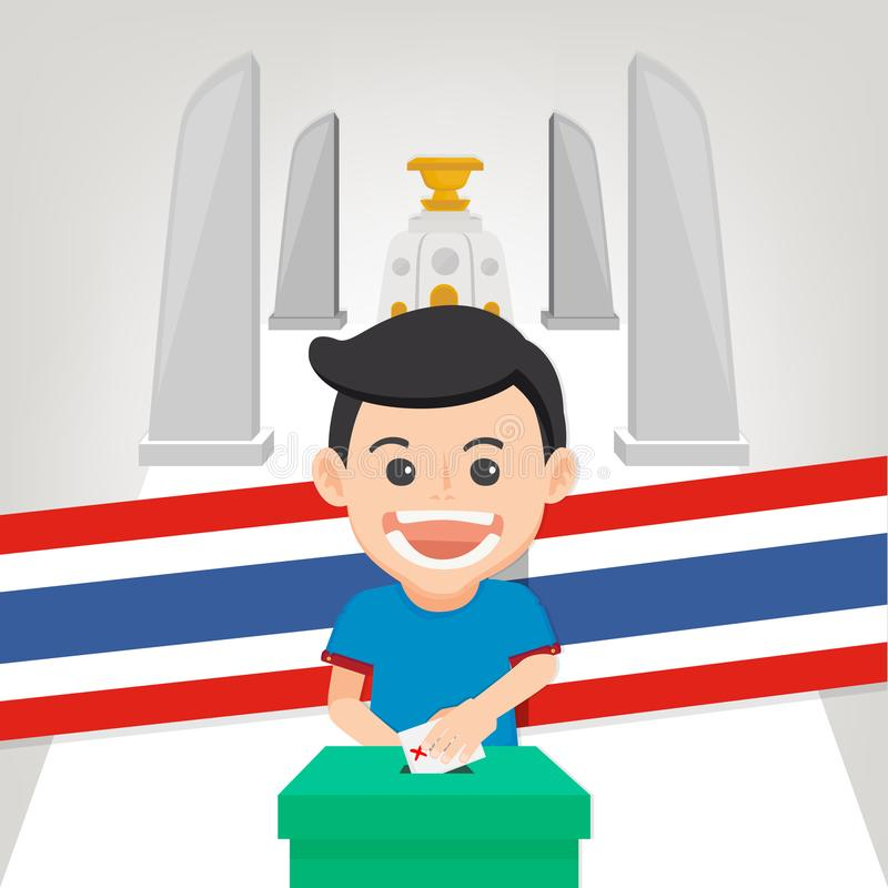 Thai General Election 2019, Human voting with ballot box.Vector illustration. Thai General Election 2019, Human voting with ballot box.Thai Flag background vector illustration