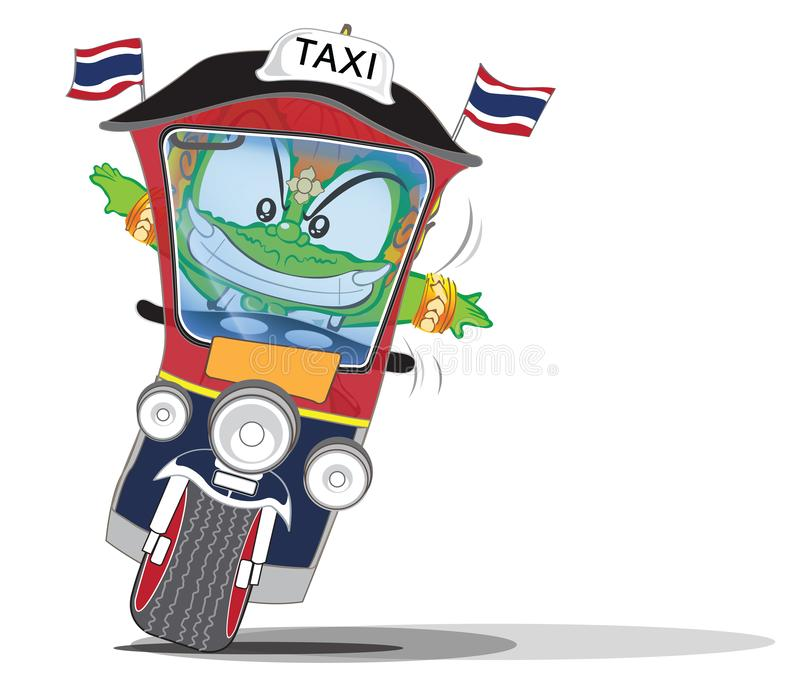 Thai giant action on taxi , Say Tuk Tuk, cartoon character cute acting design. Art, illustration isolate on white background has clipping path royalty free illustration