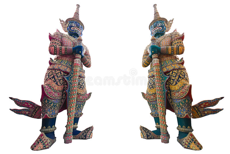 Thai Giant, a guard daemon at the grand palace. Thai Giant, a guard daemon which stand in front of temple`s gate at the grand palace. Solid on white background stock photo
