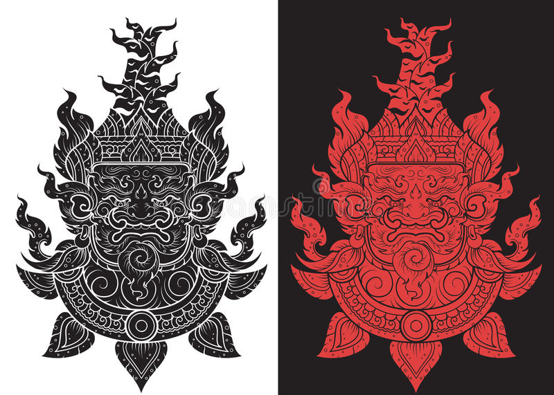 Thai Giant head outline stroke layout vector illustration