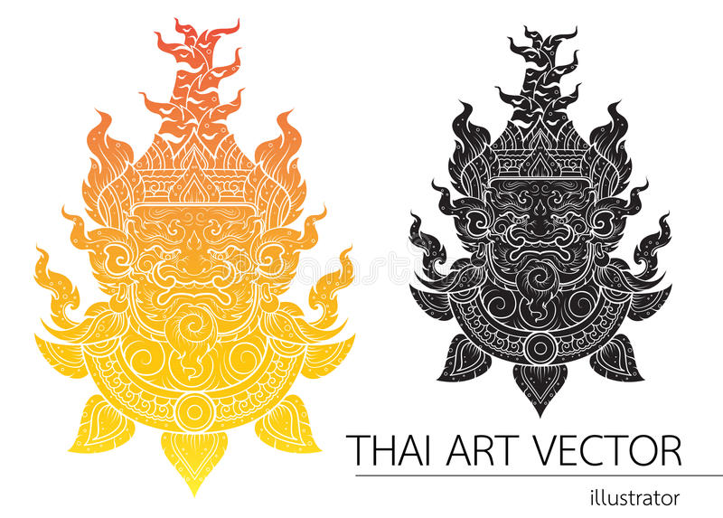 Thai Giant head outline stroke layout royalty free illustration