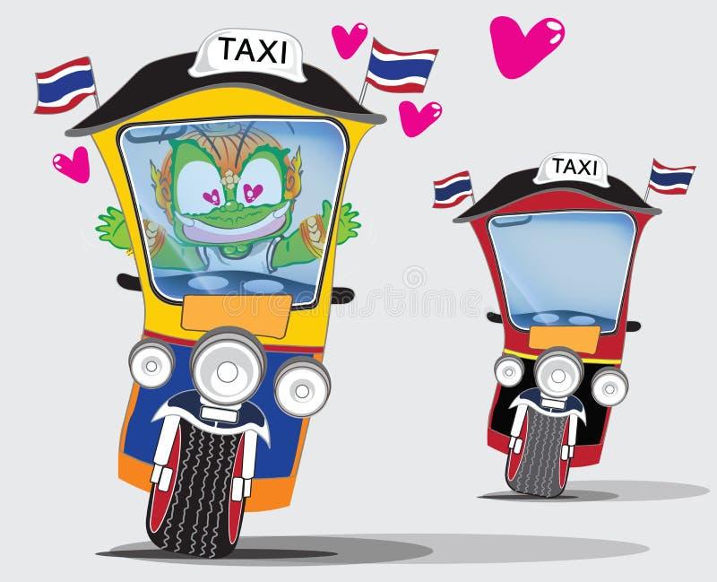 Thai Giant lover Tuk Tuk taxi cartoon cute acting character design. Art, illustration, Isoalte has clipping path royalty free illustration