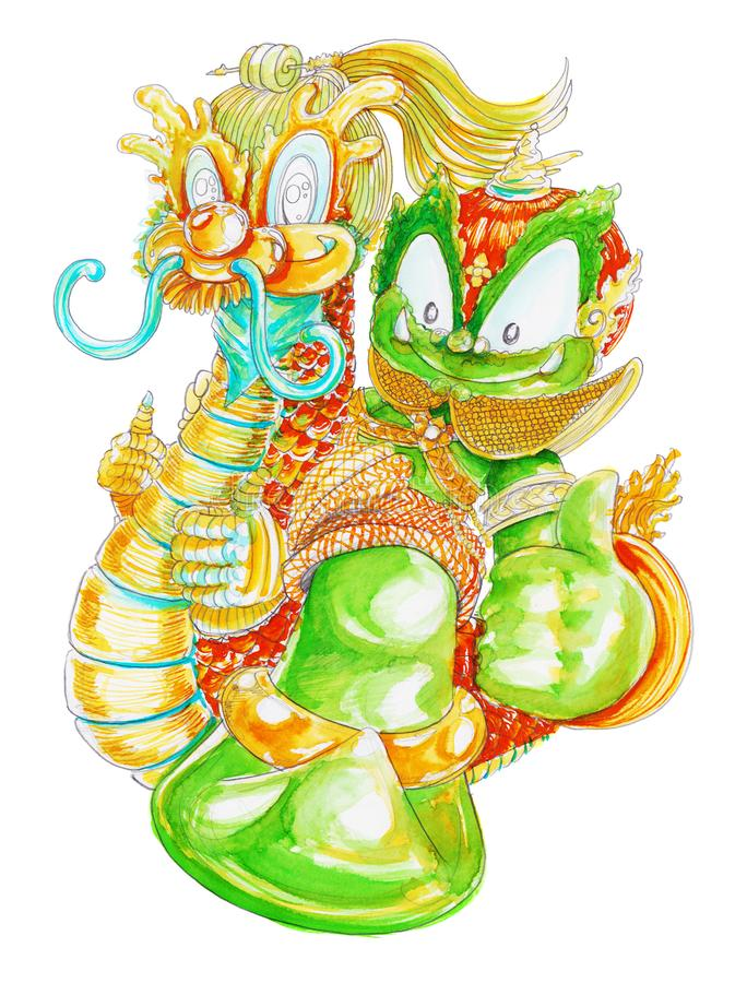 Thai Giant Siam Ghumphant riding Dragon flying hand paint and drawn cartoon character acting design stock images