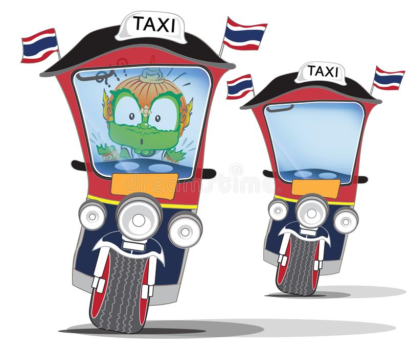 Thai giant to confused on taxi cartoon character cute acting design. Thai giant to confused and driving on taxi , Say Tuk Tuk, cartoon character cute acting stock illustration