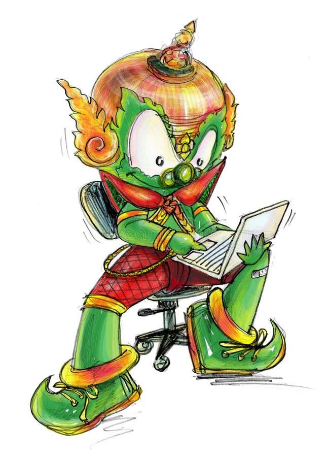 Thai Giant working on computer Labtop cartoon character Design stock photos