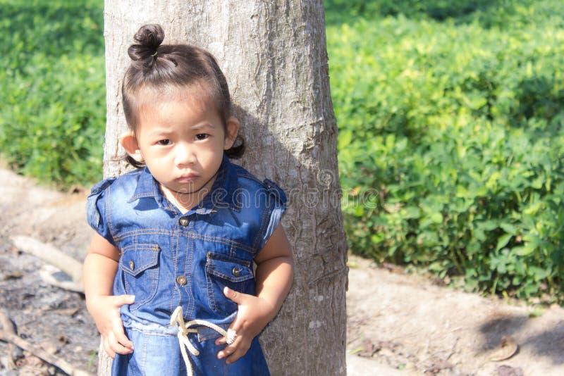 Thai girl in bean garden. Child royalty free stock photos