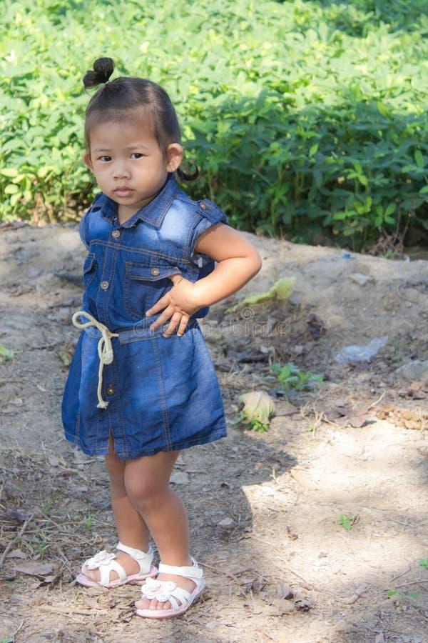 Thai girl in bean garden. Children royalty free stock images