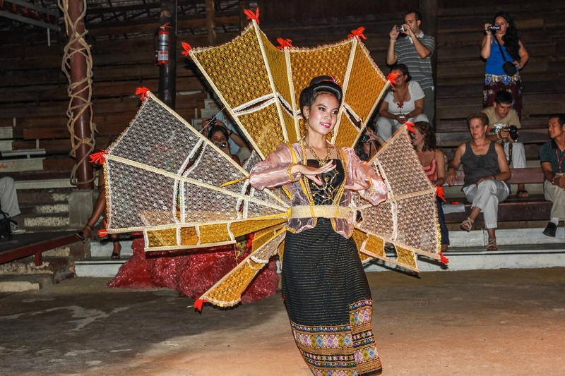 Thai dancer. Woman dressed in traditional clothes, performing in shows of Thai Lanna dace. Kantoke Palace, Chiang Mai, Thailand, Asia royalty free stock photos