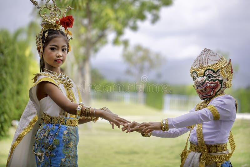 Thai girl dressed in khon dress stock photo