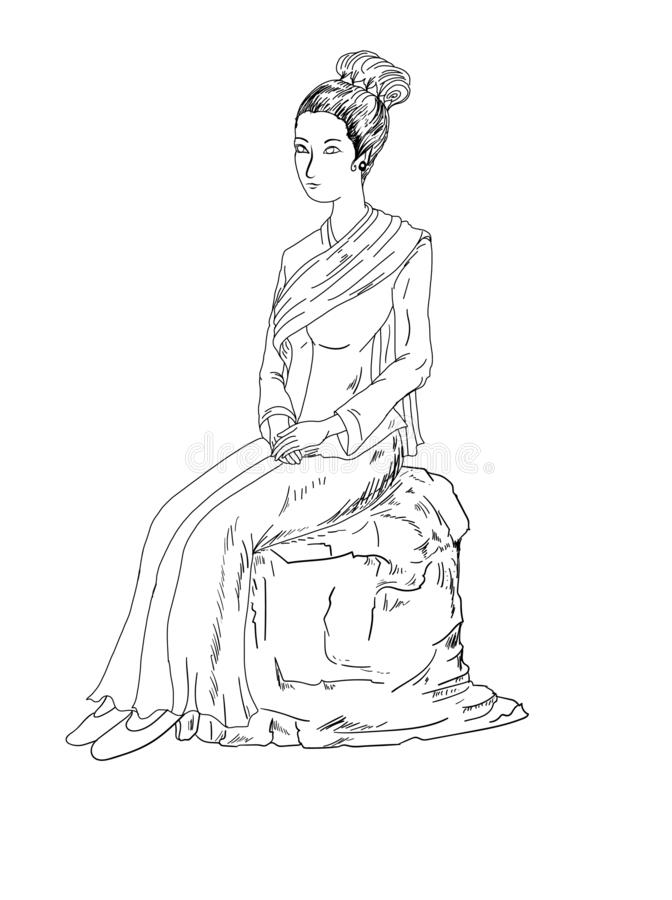 Thai girl vector isolate on white background. stock illustration