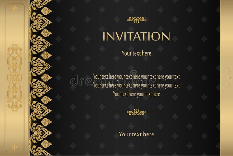 Thai gold on black luxury vintage vector abstract background royalty free illustration