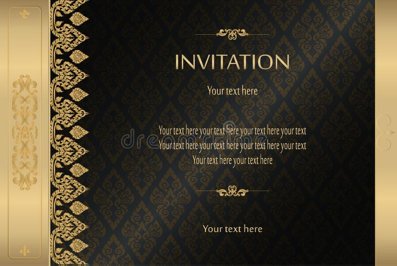 Thai gold on black luxury vintage vector abstract background invitation card, greeting card,celebration,congratulations royalty free illustration