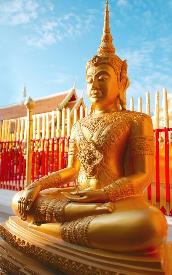 Thai golden buddha statue stock photography