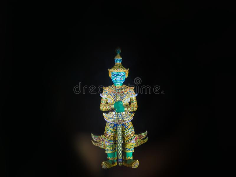 Thai golden demon warrior, Green giant guardian royalty free stock photos