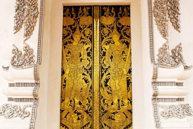 Thai Golden Painting Door Stock Photography