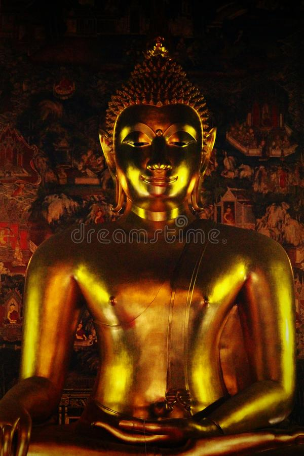 A Thai golden shining Buddha statue stock photo