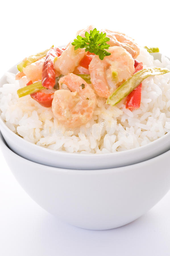 Thai Green Curry Shrimp. With white rice royalty free stock images