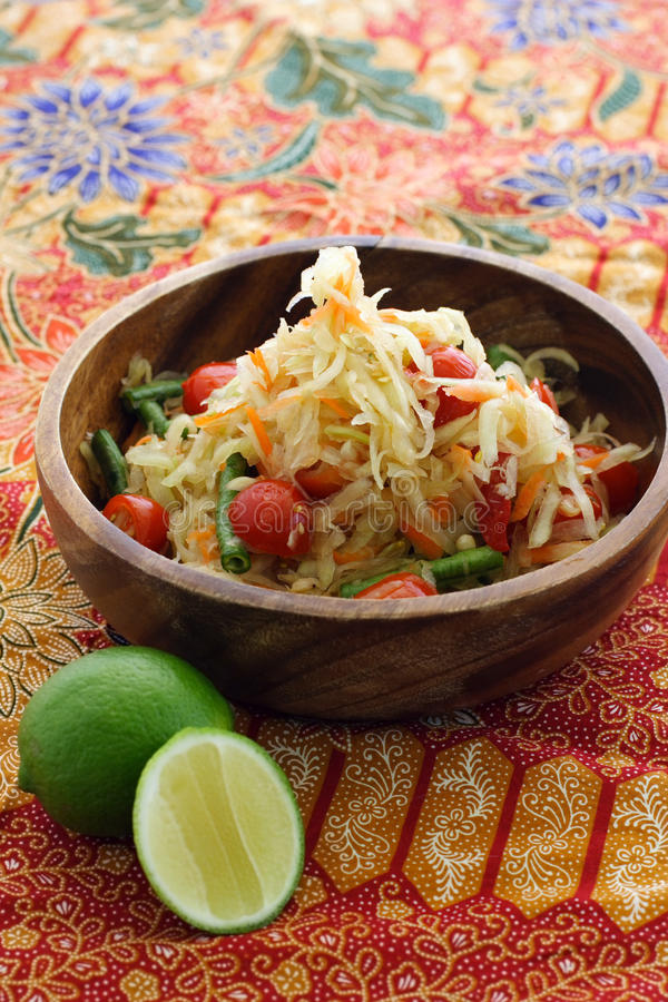 Download Thai green papaya salad stock photo. Image of asian, cherry - 9935748