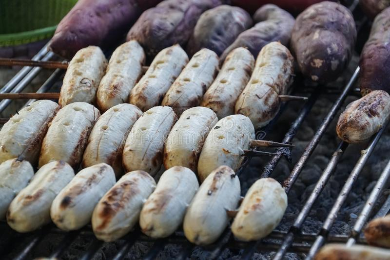 Thai grilled banana, purple sweet potato. Thai grilled banana and purple sweet potato stock photos