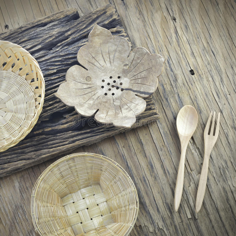 Thai handicraft. On wooden plate stock photography